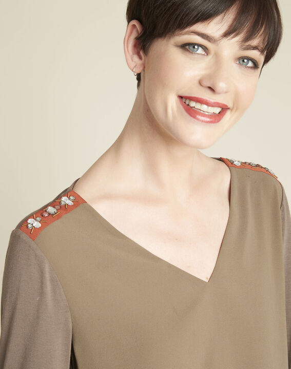 Coralie bi-material khaki blouse with jewel detailing on the shoulders (3) - 1-2-3