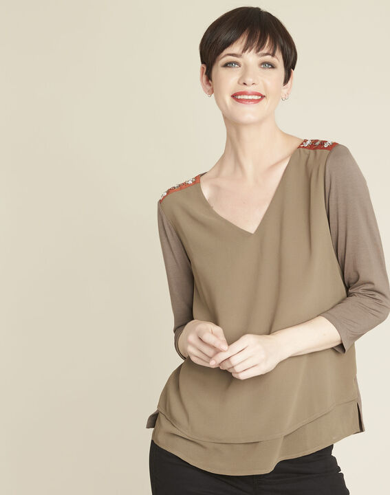 Coralie bi-material khaki blouse with jewel detailing on the shoulders PhotoZ | 1-2-3