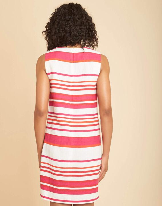 Berangere striped fuchsia linen dress (4) - 1-2-3