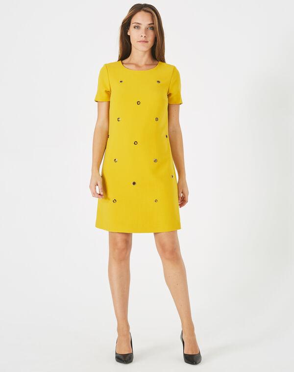 Robe jaune avec œillets adélie à