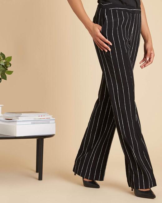 Pantalon noir fluide à rayures Valou (2) - 1-2-3