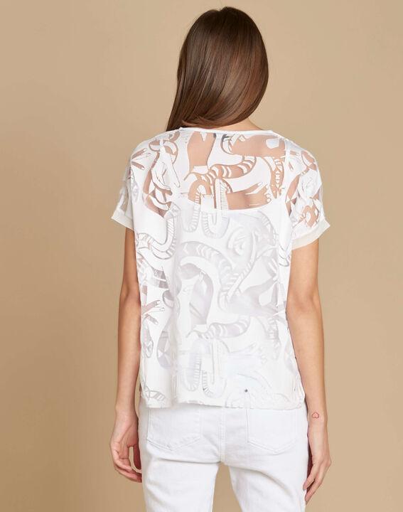 Ecrufarbenes T-Shirt mit Ausbrennmuster Eka (4) - 1-2-3