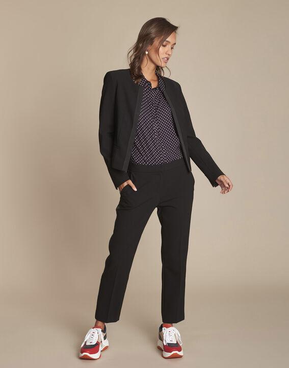 Pantalon noir et sa bande latérale microfibre Suzanne (2) - Maison 123