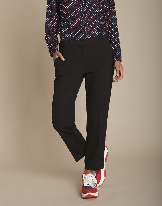 Zwarte broek met zijdelingse band van microvezel Suzanne (1) - Maison 123