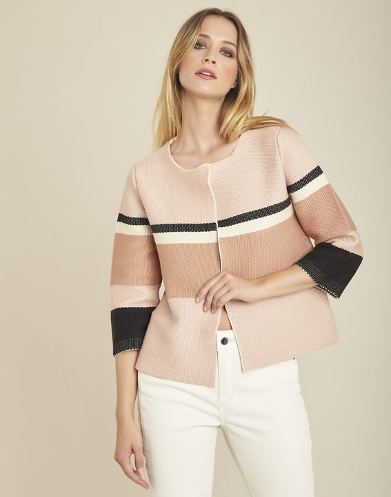Batisse rose cardigan with stripes and 3/4 length sleeves (1) - Maison 123