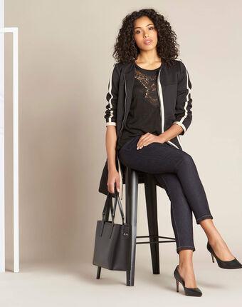 Tee-shirt noir en lin à détail dentelle elise noir.