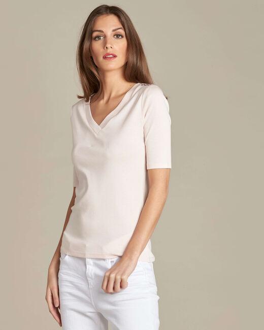 Tee-shirt rose pâle oeillets épaule Ecume (2) - 1-2-3