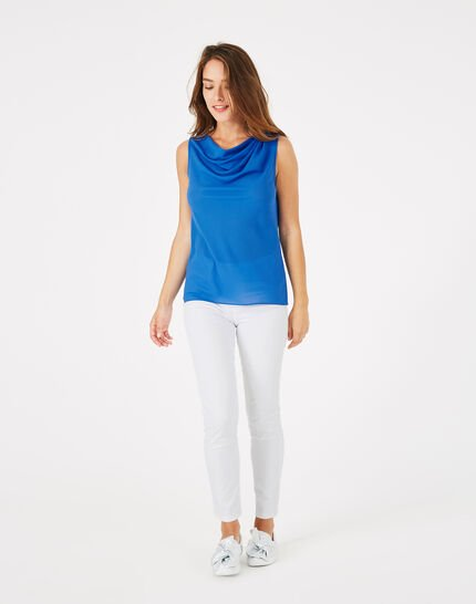 Daisy royal blue top with cowl neckline (3) - 1-2-3
