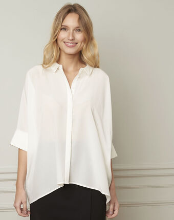 Ecrufarbene ausgestellte bluse aus seide vania ecru.