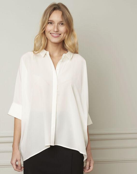 Ecrufarbene ausgestellte Bluse aus Seide Vania (1) - 1-2-3
