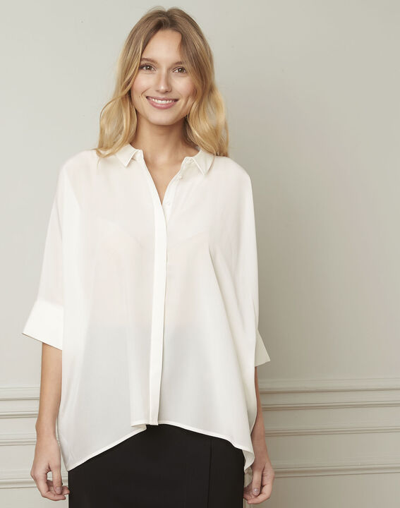 Ecru wijde blouse van zijde Vania (1) - Maison 123