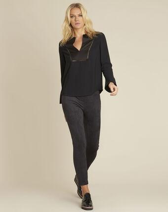Carole black blouse with decorative neckline black.