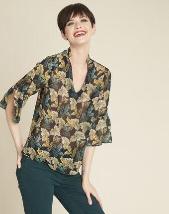 Claudie khaki blouse with leaf print leaf.