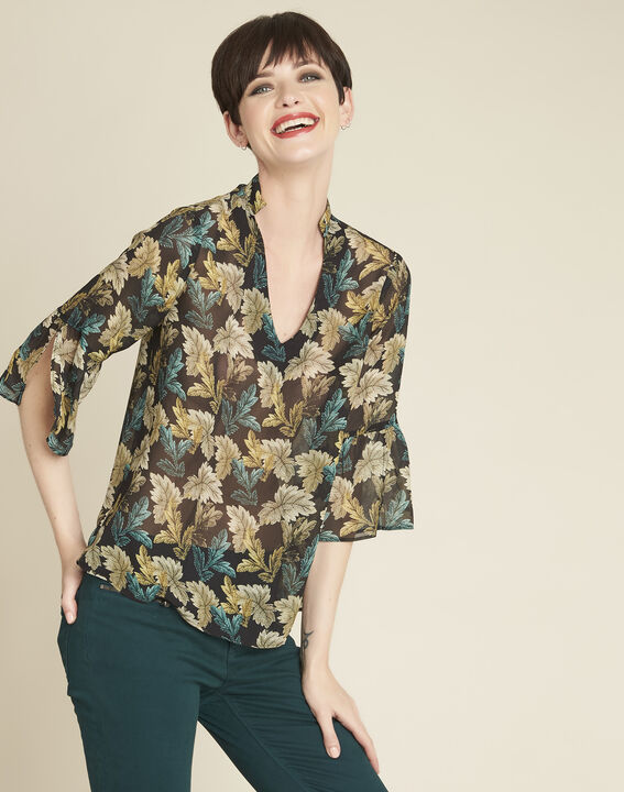 Claudie khaki blouse with leaf print PhotoZ | 1-2-3