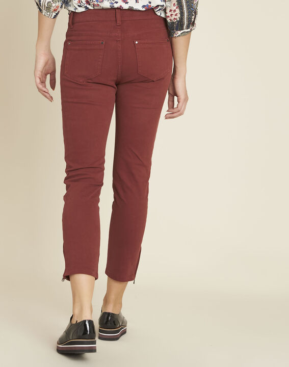 Opéra 7/8 length mahogany slim-cut jeans with zip detailing (4) - 1-2-3