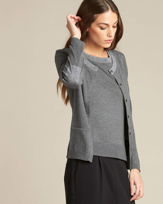 Nathalie grey cardigan in a cotton mix with shiny neckline (2) - 1-2-3