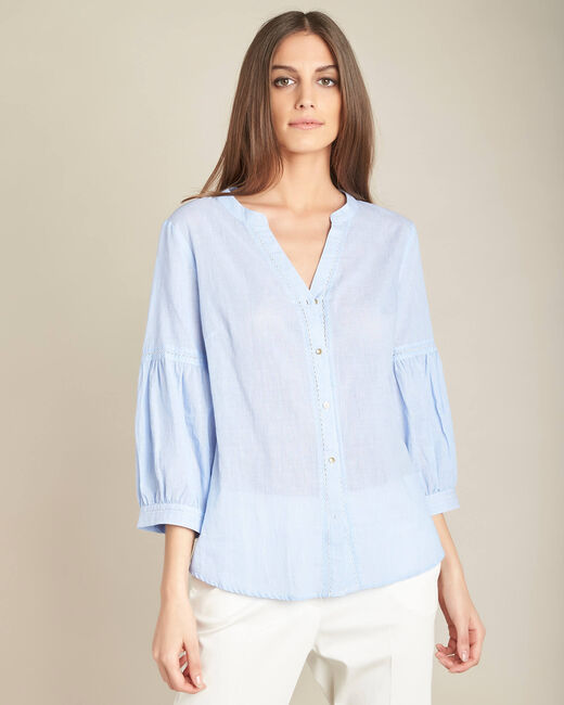 Gasteria sky blue cotton blouse with puffy sleeves (2) - 1-2-3