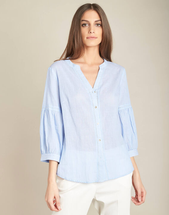 Gasteria sky blue cotton blouse with puffy sleeves (3) - 1-2-3