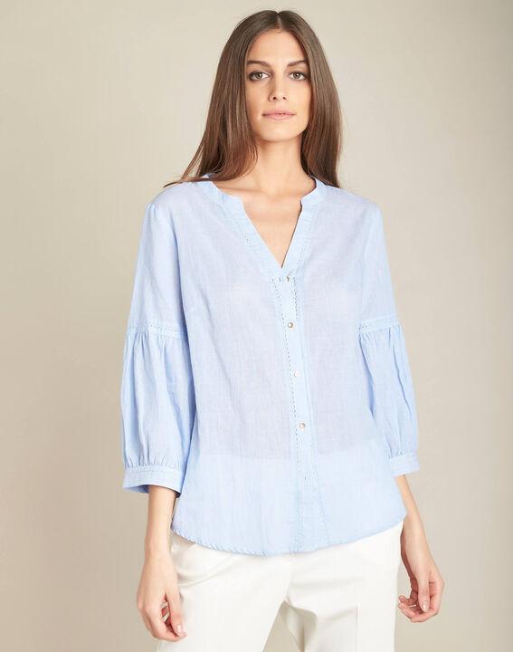 Hemelsblauwe, katoenen blouse met ballonmouwen Gasteria (3) - 37653