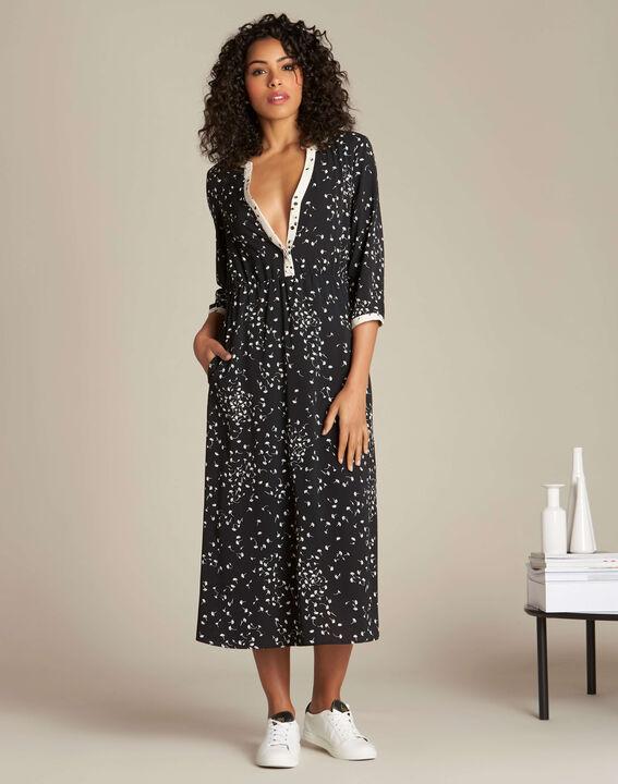 Langes schwarzes Kleid mit Ginko-Print Patchouli (3) - 1-2-3