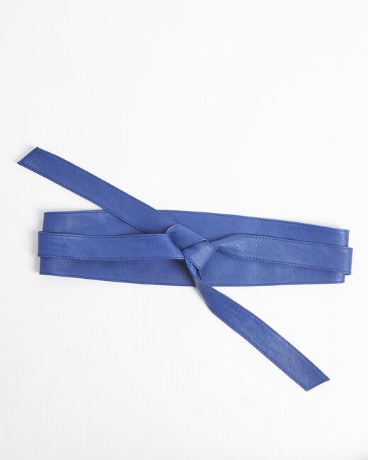 Ceinture large bleue en cuir à nouer Raul (2) - 37653