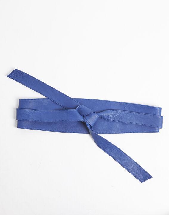 Ceinture large bleue en cuir à nouer Raul PhotoZ | 1-2-3