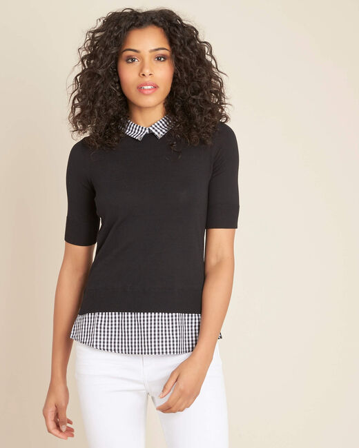 Noella black sweater with contrasting shirt collar (1) - 1-2-3