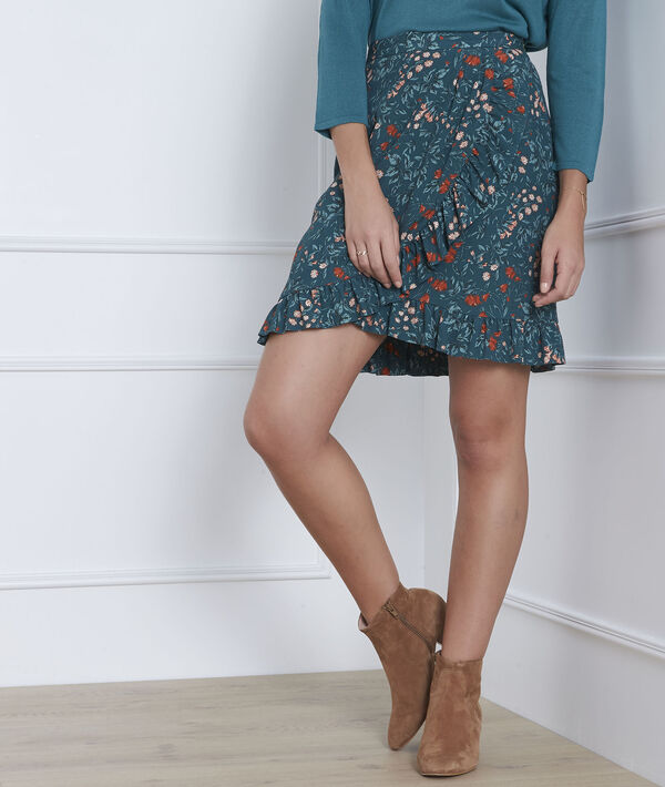 Blauer Rock mit floralem Print-Muster Scarlatt PhotoZ | 1-2-3