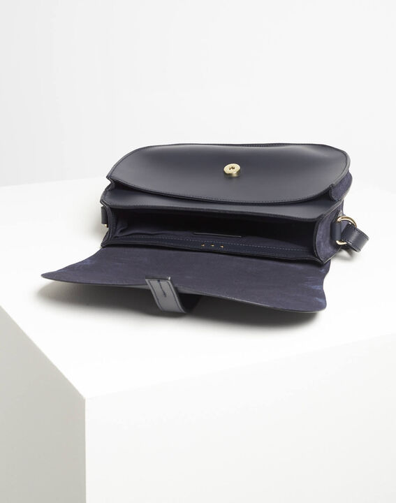 Delinda dual-fabric navy blue shoulder bag (4) - 1-2-3