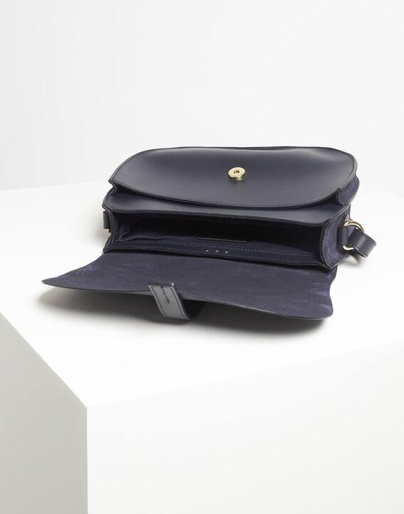 Delinda dual-fabric navy blue shoulder bag (4) - 1-2-3