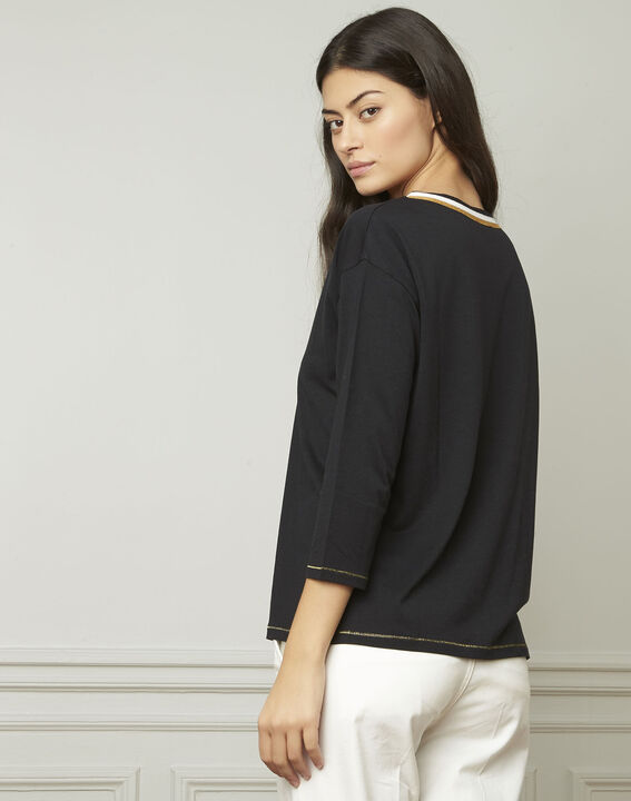 schwarzes T-Shirt mit originellem Ausschnitt Philomene (3) - Maison 123