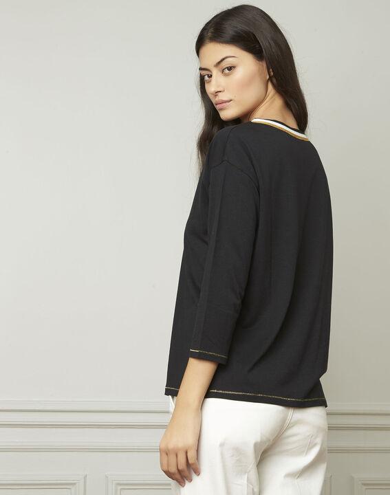 Tee-shirt noir encolure V fantaisie Philomene (3) - Maison 123