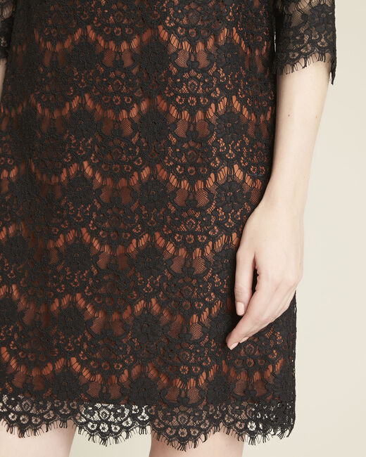 Black lace dress with orange underlay (2) - 1-2-3