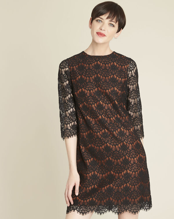 Black lace dress with orange underlay (1) - 1-2-3