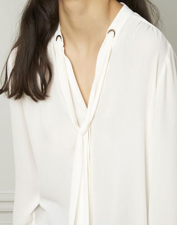 Witte blouse met lavallièrekraag Valence (4) - Maison 123