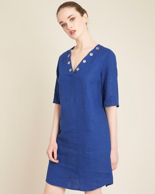 Pavot dark indigo linen dress with eyelets on the neckline (2) - 1-2-3