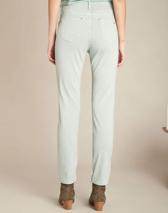 Mandelgrüne Washed Slim Fit-Jeans normale Leibhöhe Vendome (4) - 1-2-3