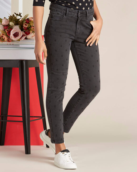 Vendôme 7/8 length grey jeans with embroidery (2) - 1-2-3