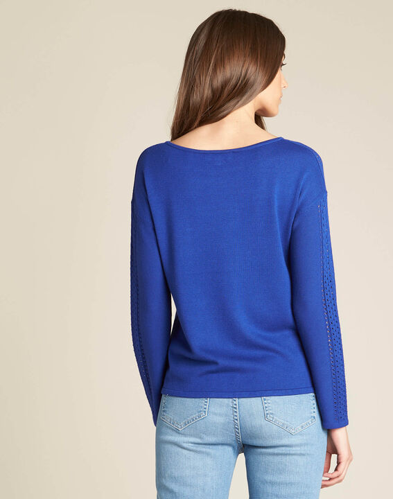 Nefle royal blue sweater with openwork neckline (4) - 1-2-3