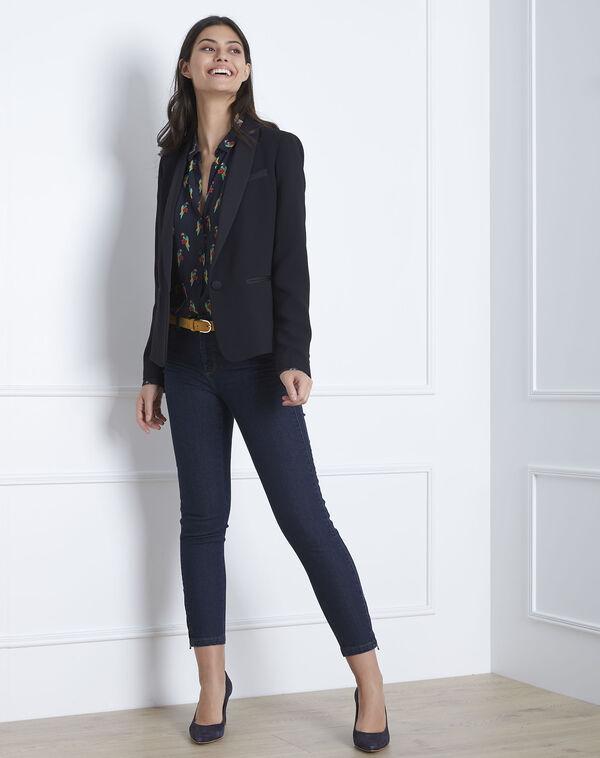 Opéra 7/8 length light navy blue slim-cut jeans with zip detailing (1) - 1-2-3