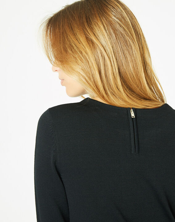 Pavlova black sweater with rounded neckline and lace insert! (5) - 1-2-3
