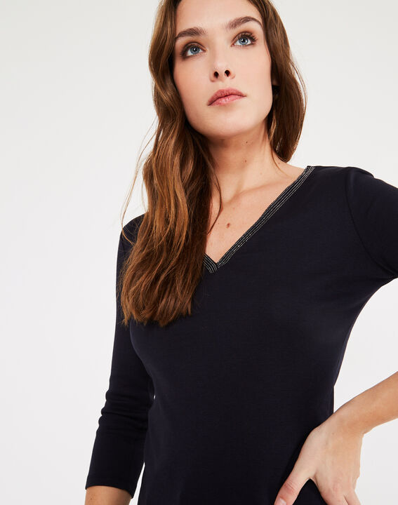 Tee-shirt marine col fantaisie Neck (2) - 1-2-3