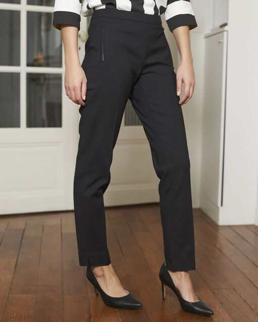 Pantalon noir slim en coton Holly (2) - 1-2-3