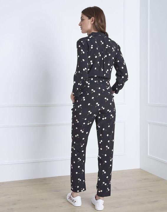 Schwarzer Jumpsuit mit Kirschen-Print Lisa (3) - Maison 123