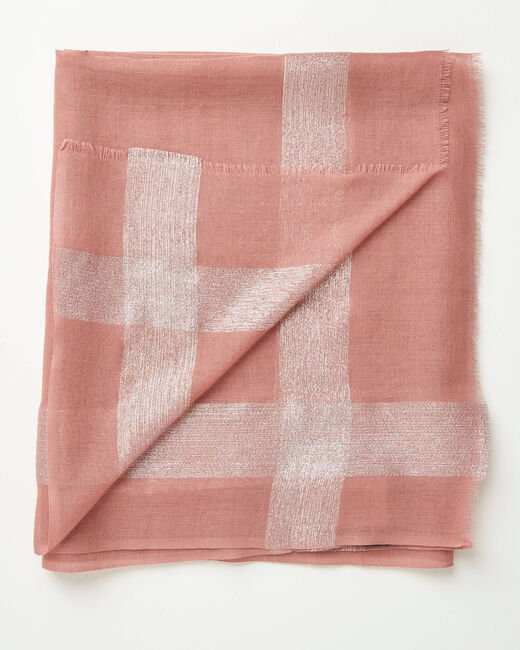 Foulard en laine et soie rose pale brillant Ashley (2) - 1-2-3