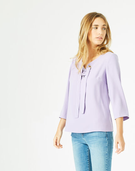 Blouse lilas col V Domino PhotoZ | 1-2-3