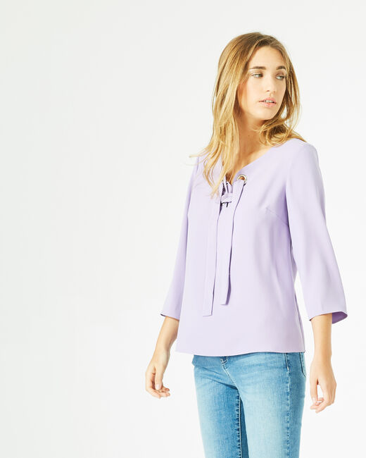 Blouse lilas col V Domino (2) - 1-2-3