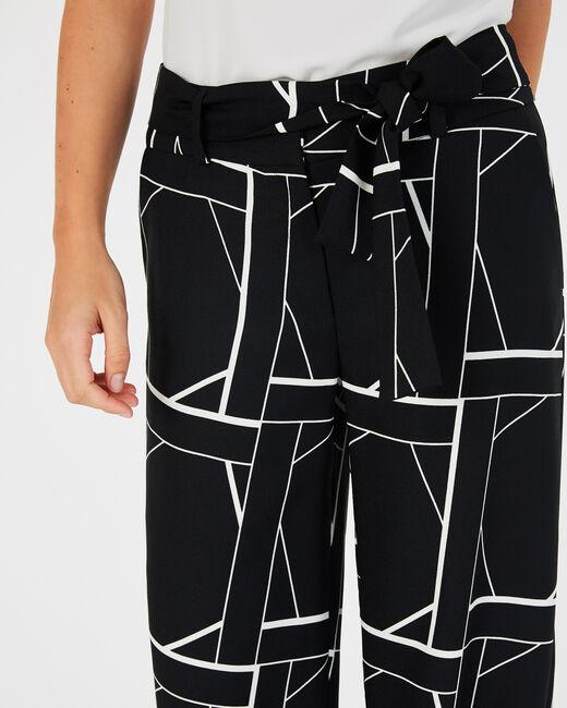 Pantalon noir imprimé fluide bande côté Kamelia (2) - 1-2-3