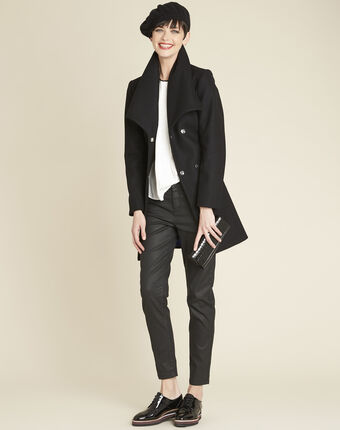 Joss black belted coat with cowl neckline black.