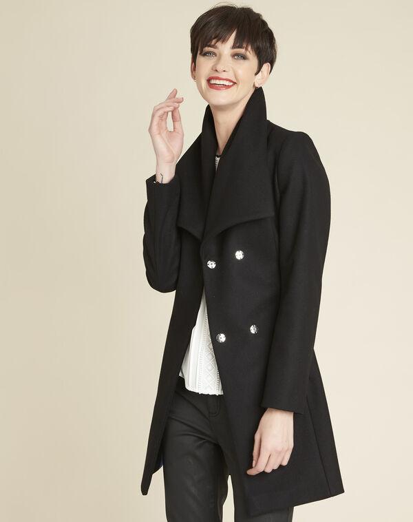 Manteau noir ceinture à col chale Joss (1) - 1-2-3